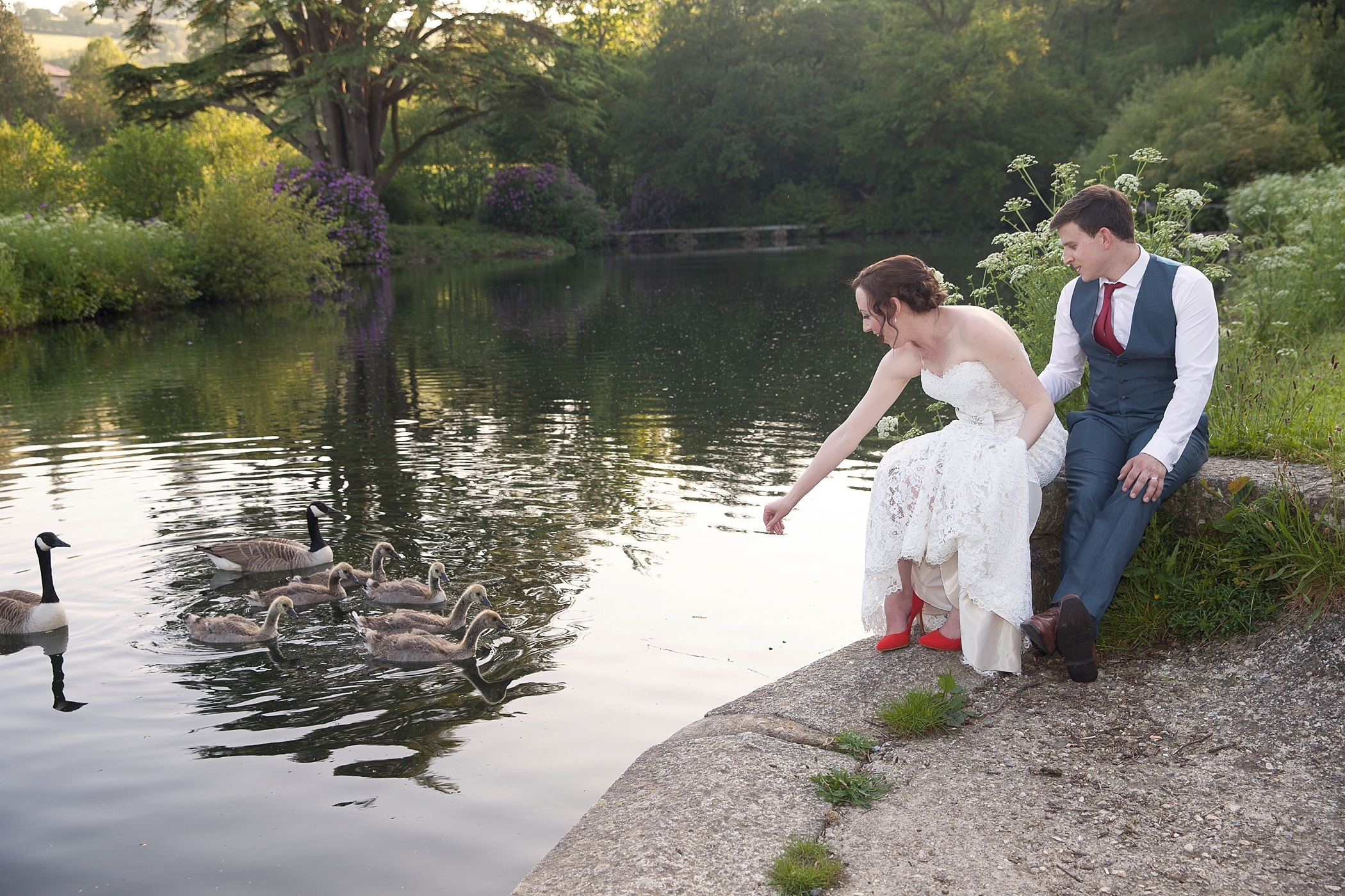 Bride and Groom at Colehayes Park on Dartmoor
