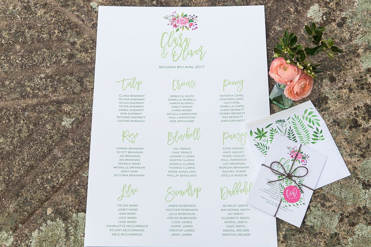 Table Plan by Knots & Kisses. Photo Mckenzie Brown Photography.
