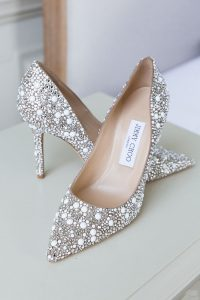 jimmy Choos wedding shoes at Pynes House