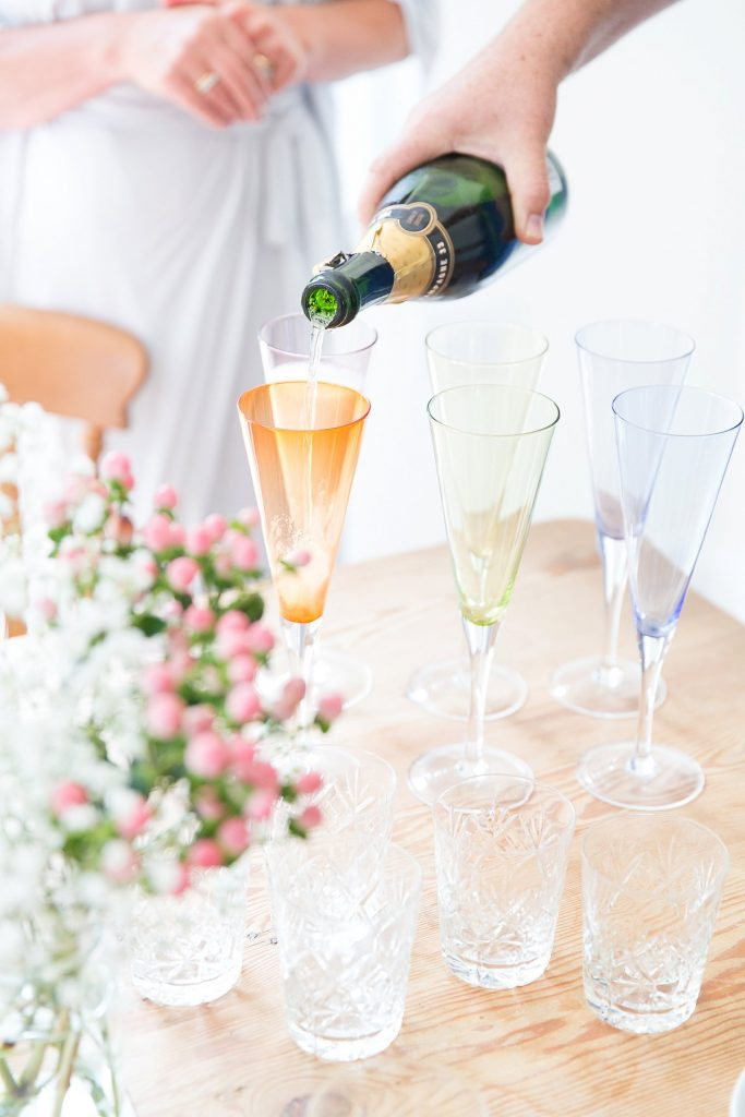 glasses of champagne at wedding by Mckenzie brown photography