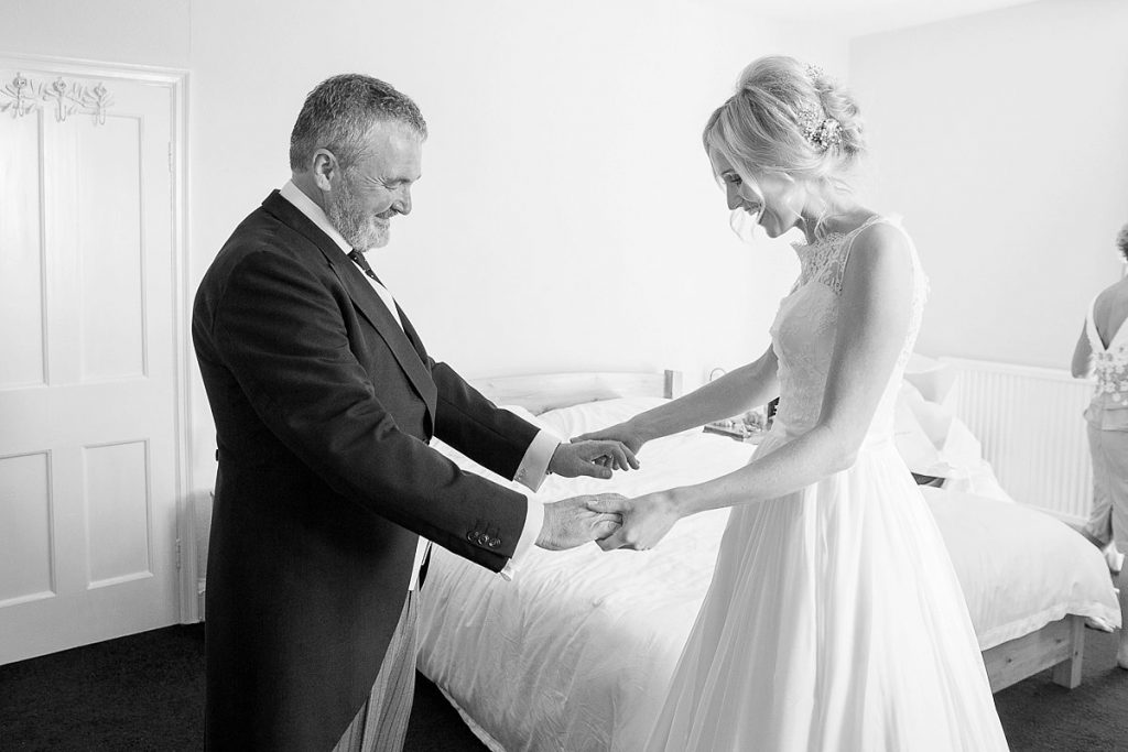 bride and bride's father together at wedding in Wiltshire by Mckenzie Brown photography