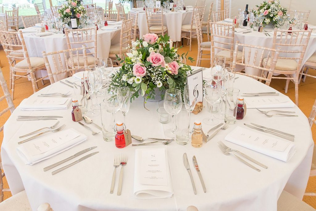 wedding centrepiece at Lyvededn New Bield wedding by Mckenzie Brown Photography