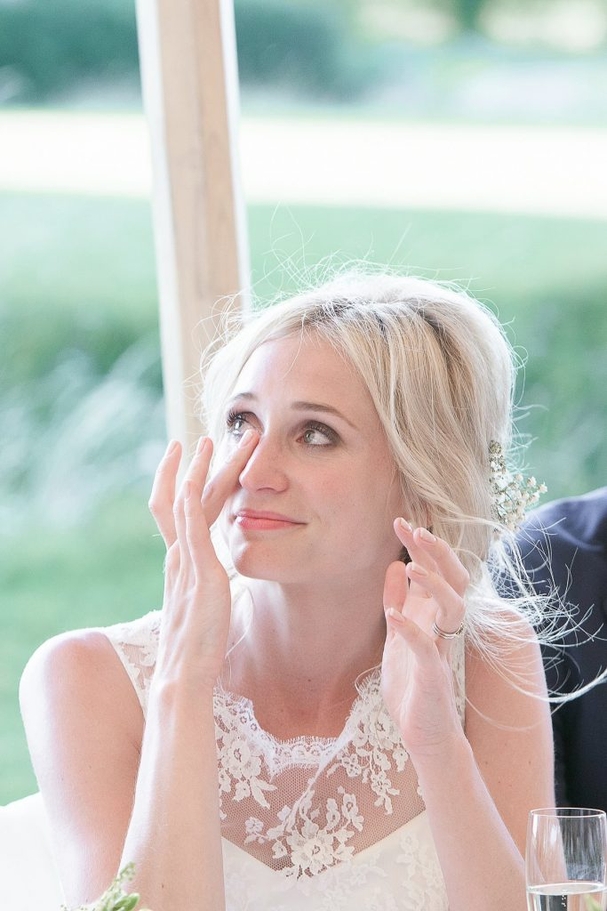 Bride cries during father speech