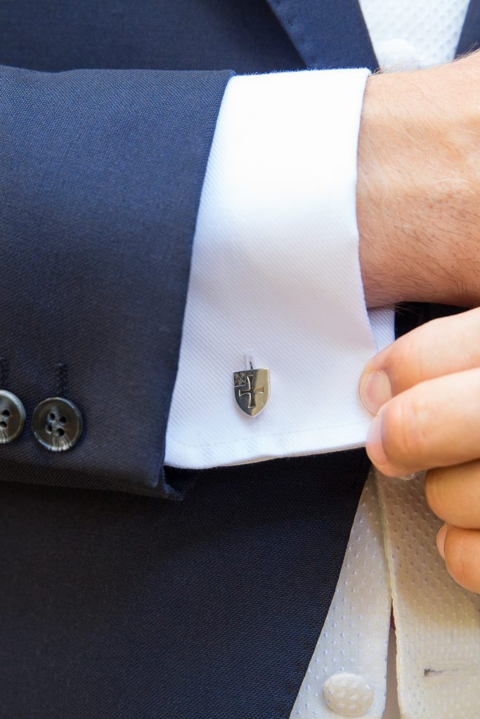 grooms cufflinks with blue suit