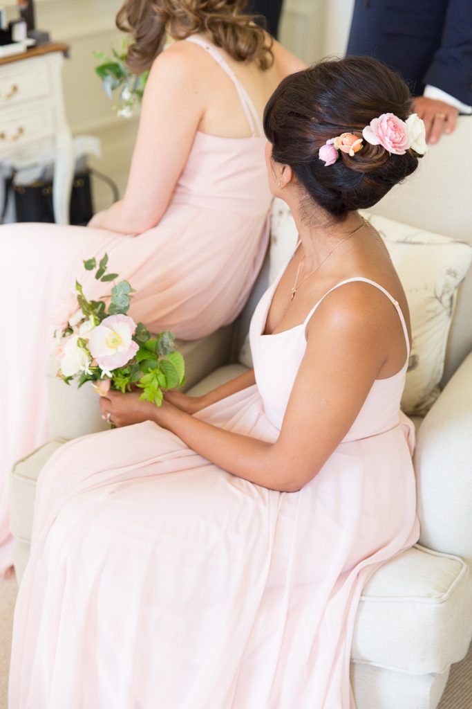 Pink blush bridesmaids dress with white florals