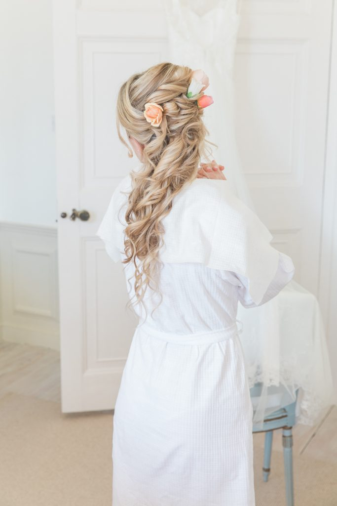 Bridal hair at Pynes House wedding in Devon by Mckenzie Brown Photography
