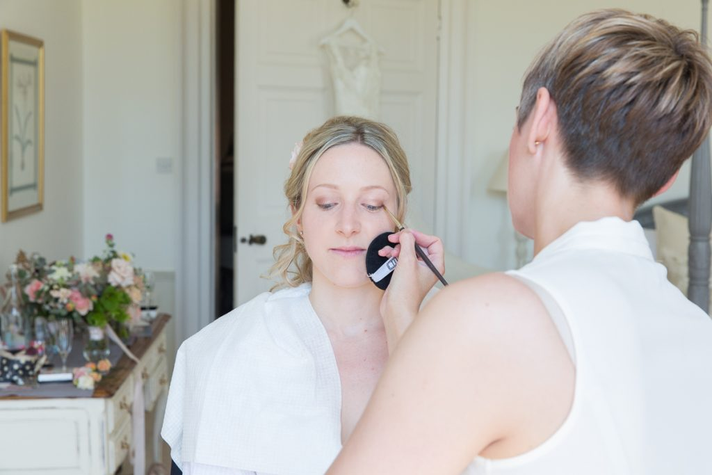 Close up of bridal make-upat Pynes House wedding in Devon by Mckenzie Brown Photography