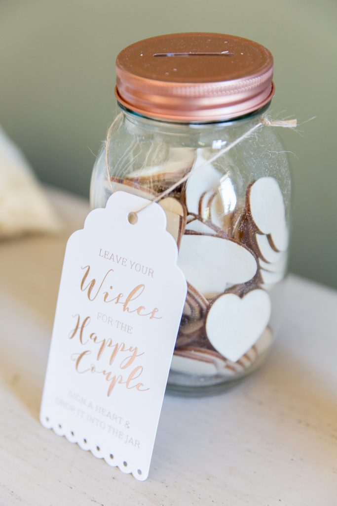 wedding wishes jar for guests at wedding at pynes house