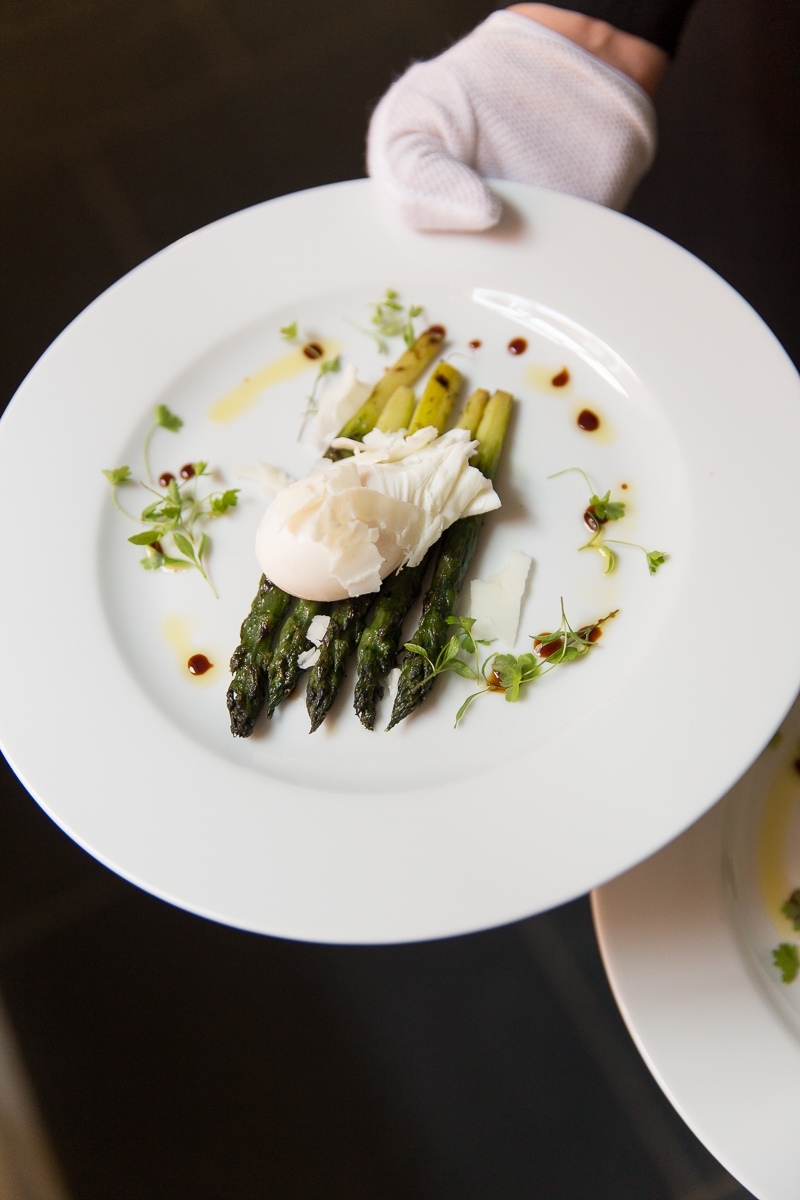 Wedding food. Asparagus and poached egg starter.