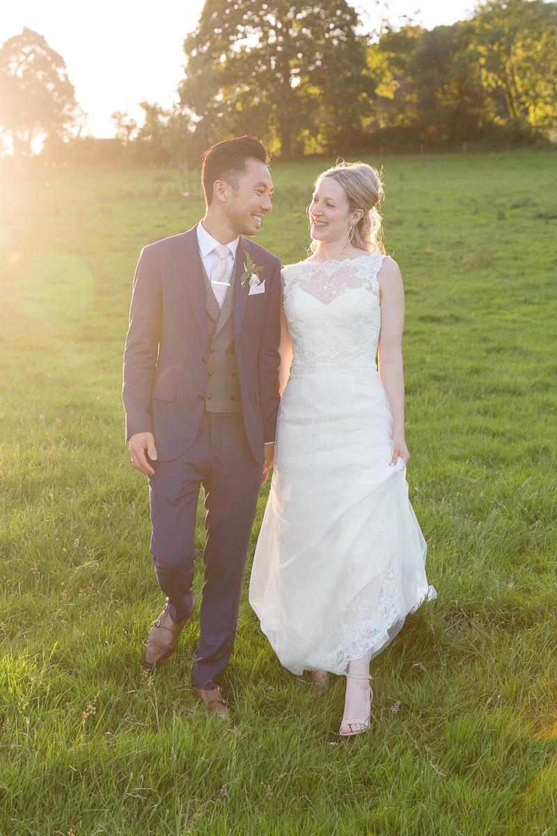 Bride and Groom at sunset in Pynes House in Devon