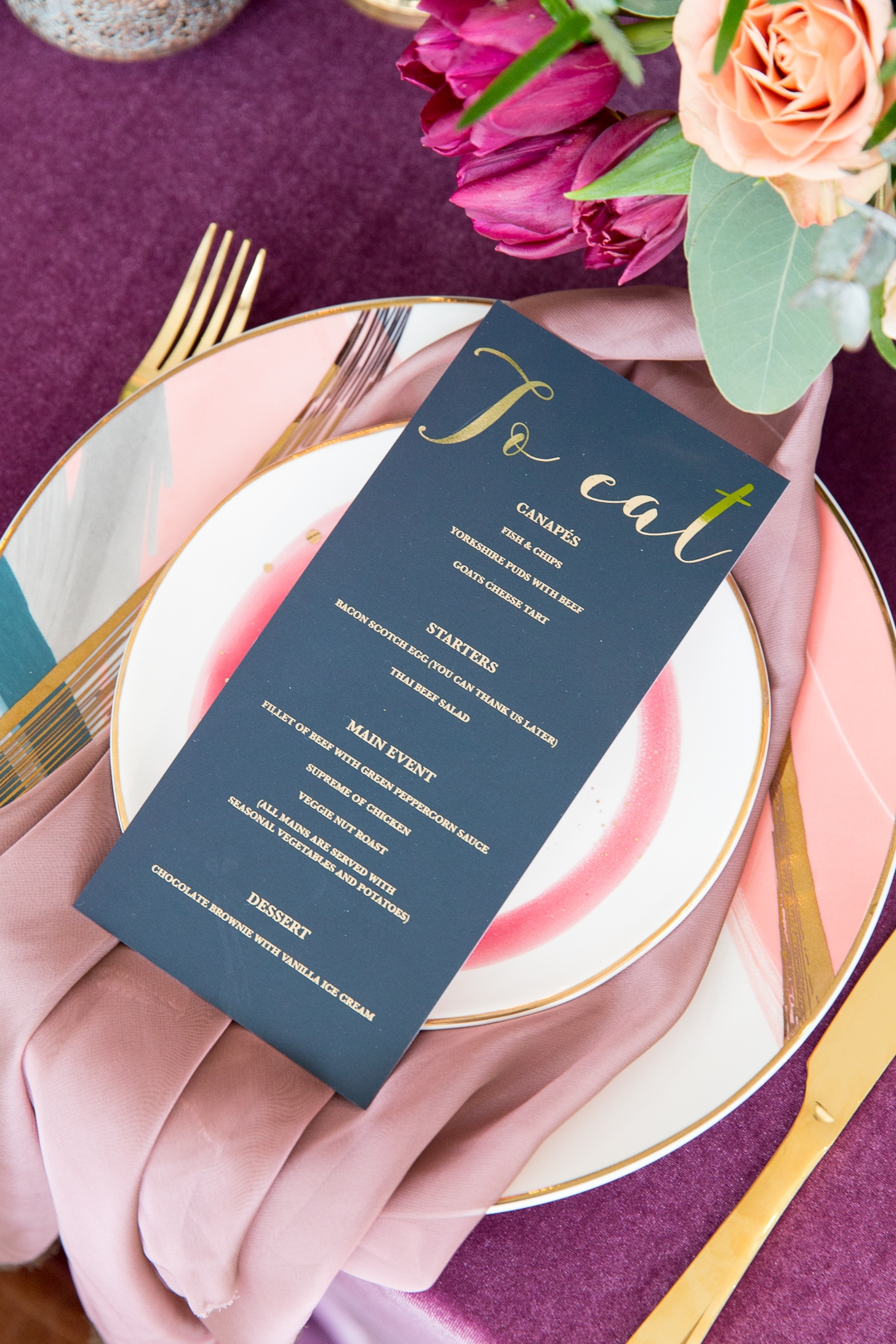 Dark calligraphy wedding setting and menu plan