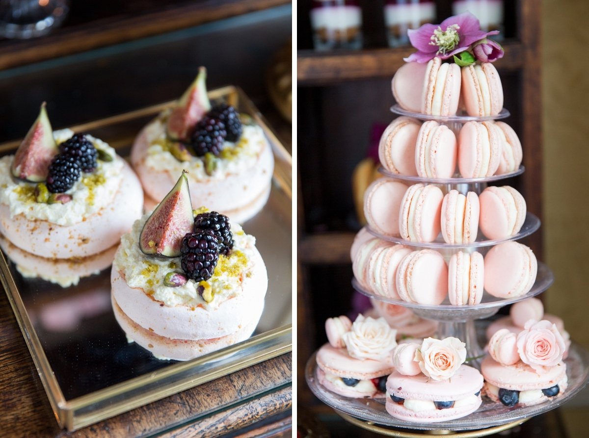 pink macaroons with blackberries