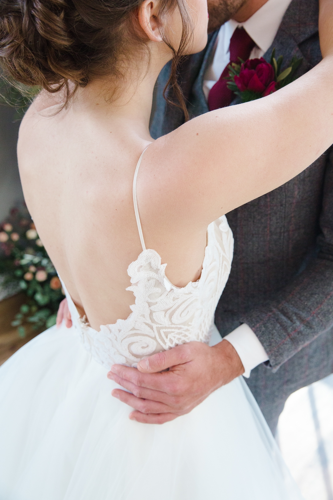 Back detail of Hayley Page wedding dress