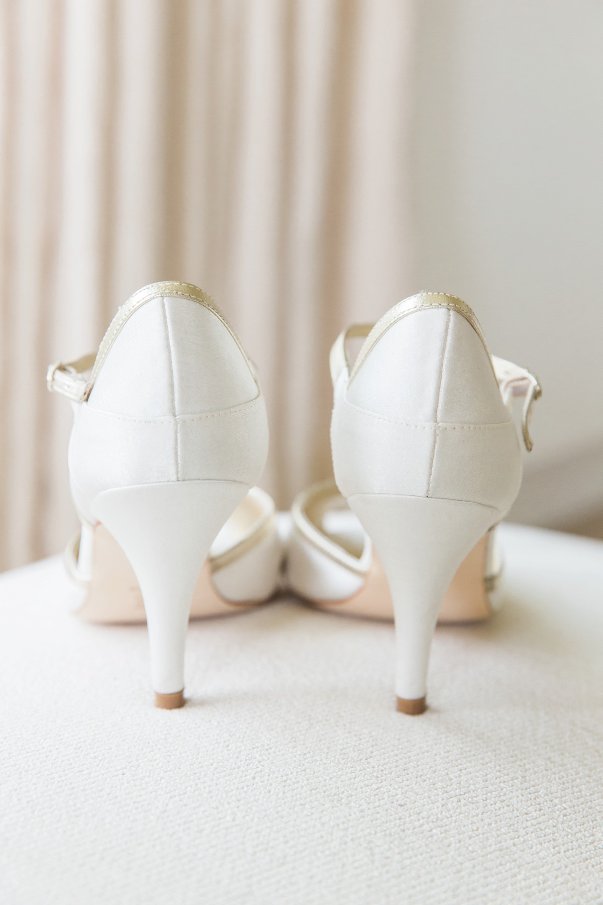 back view of cream wedding shoes