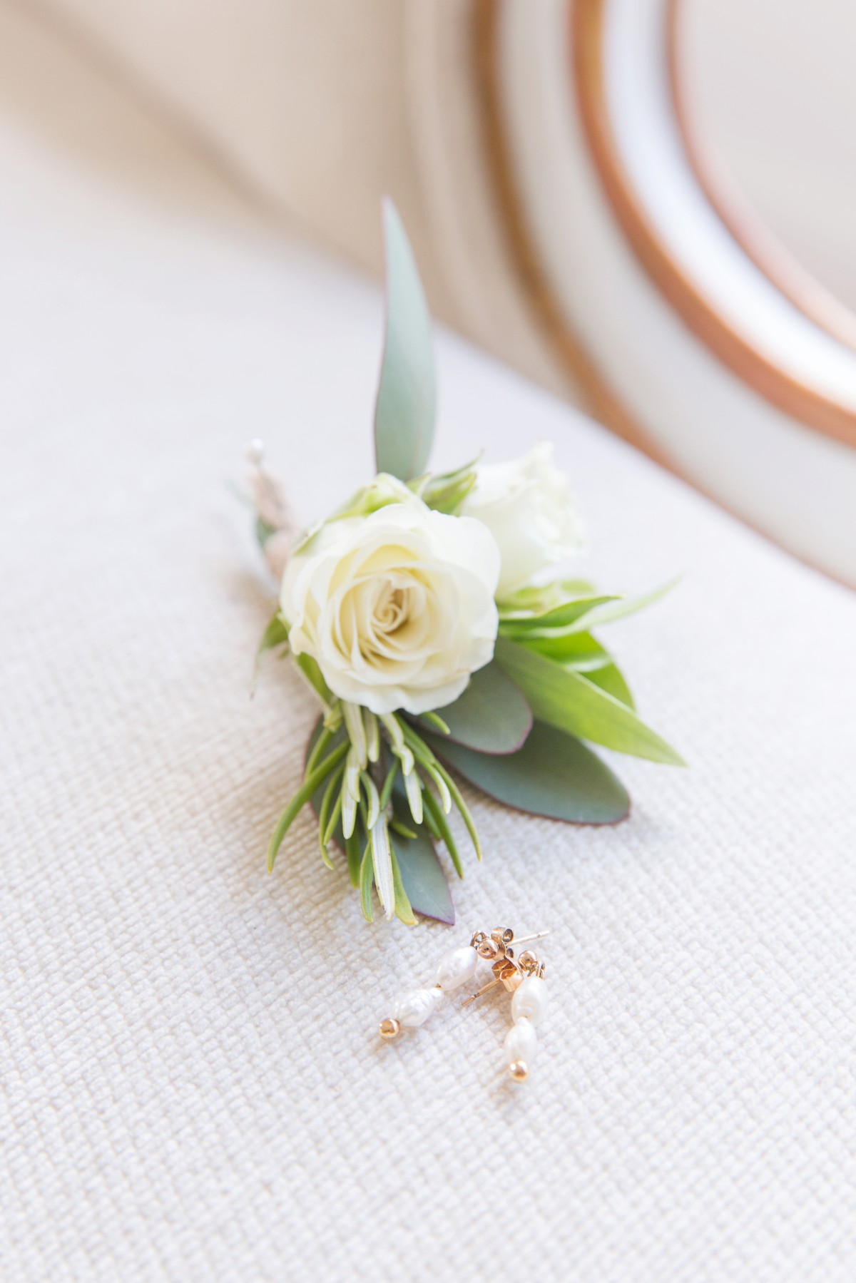 wedding buttonhole with jewellery