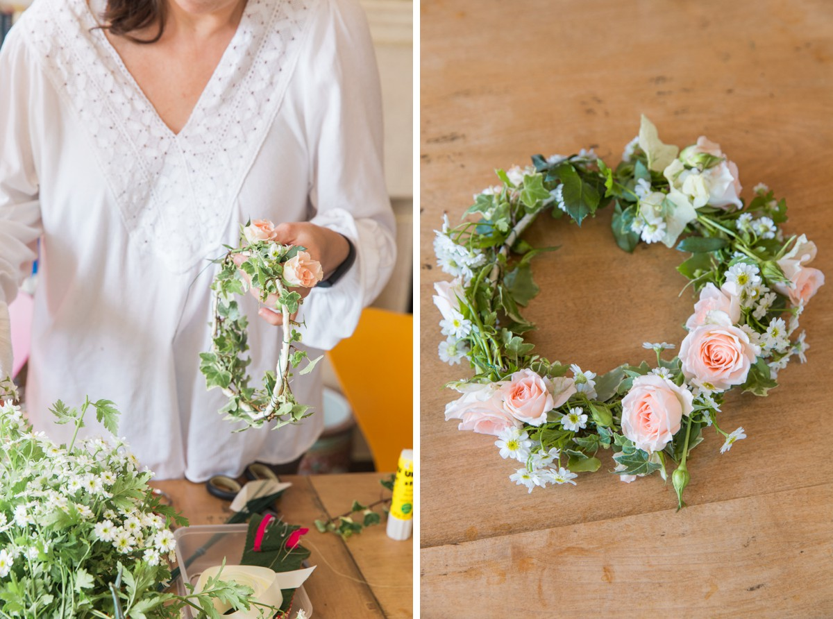 making a wedding flower crown
