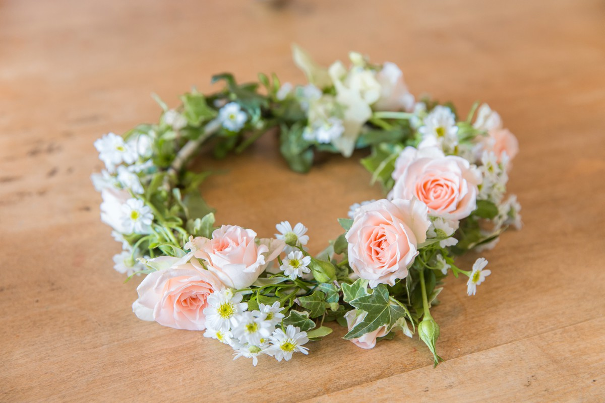 pink rose wedding flower crown