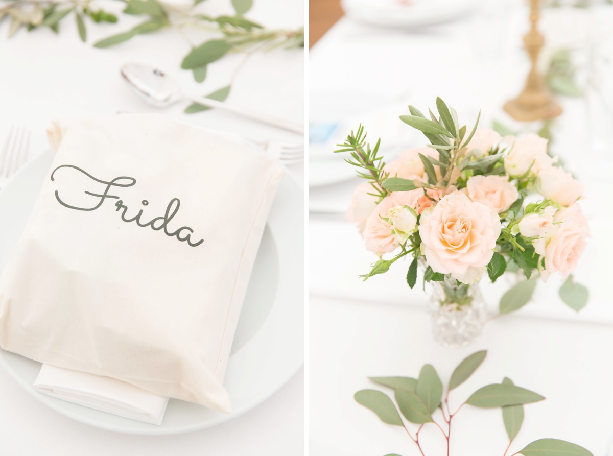 wedding favours on bridal table