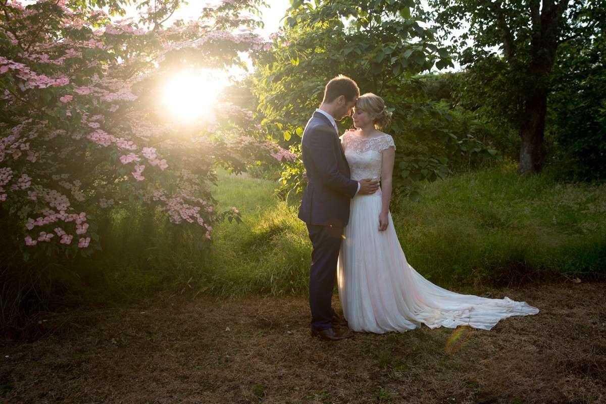sunset at Nymans garden wedding