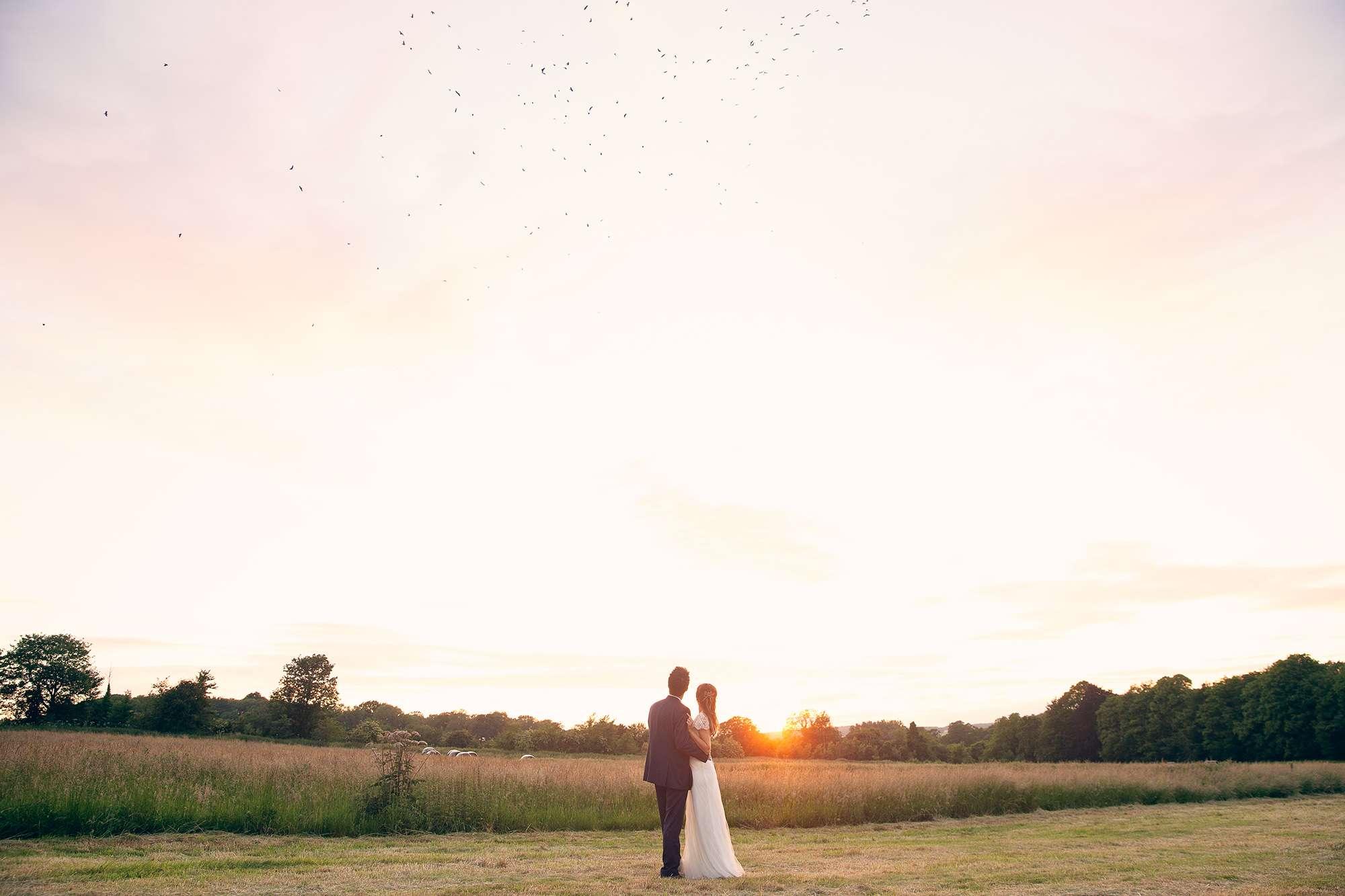Lainston House wedding at sunset