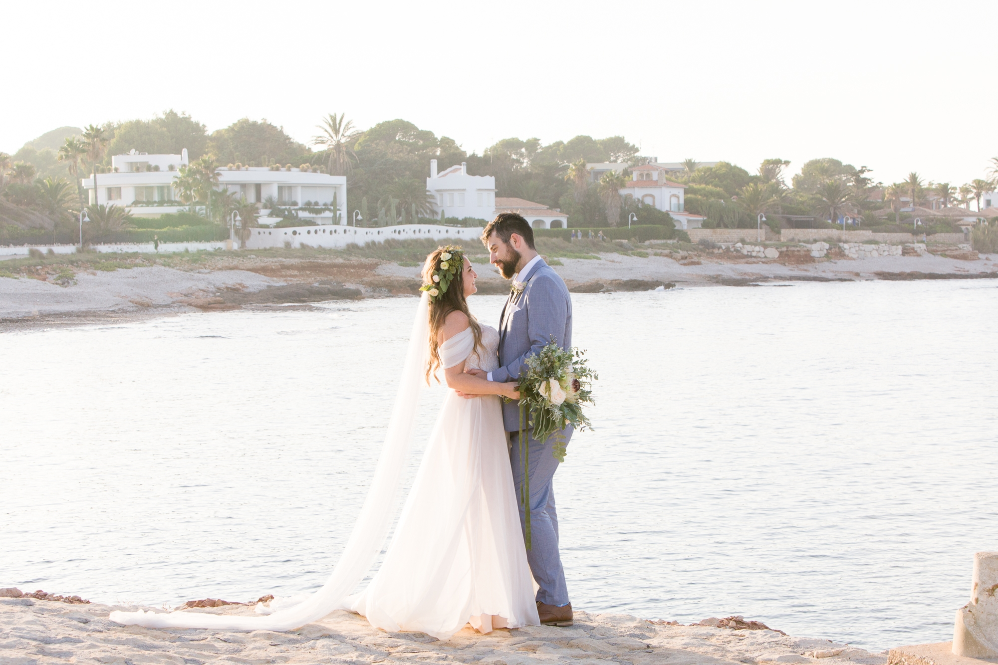 couple stand by ocean destination wedding in denia spain
