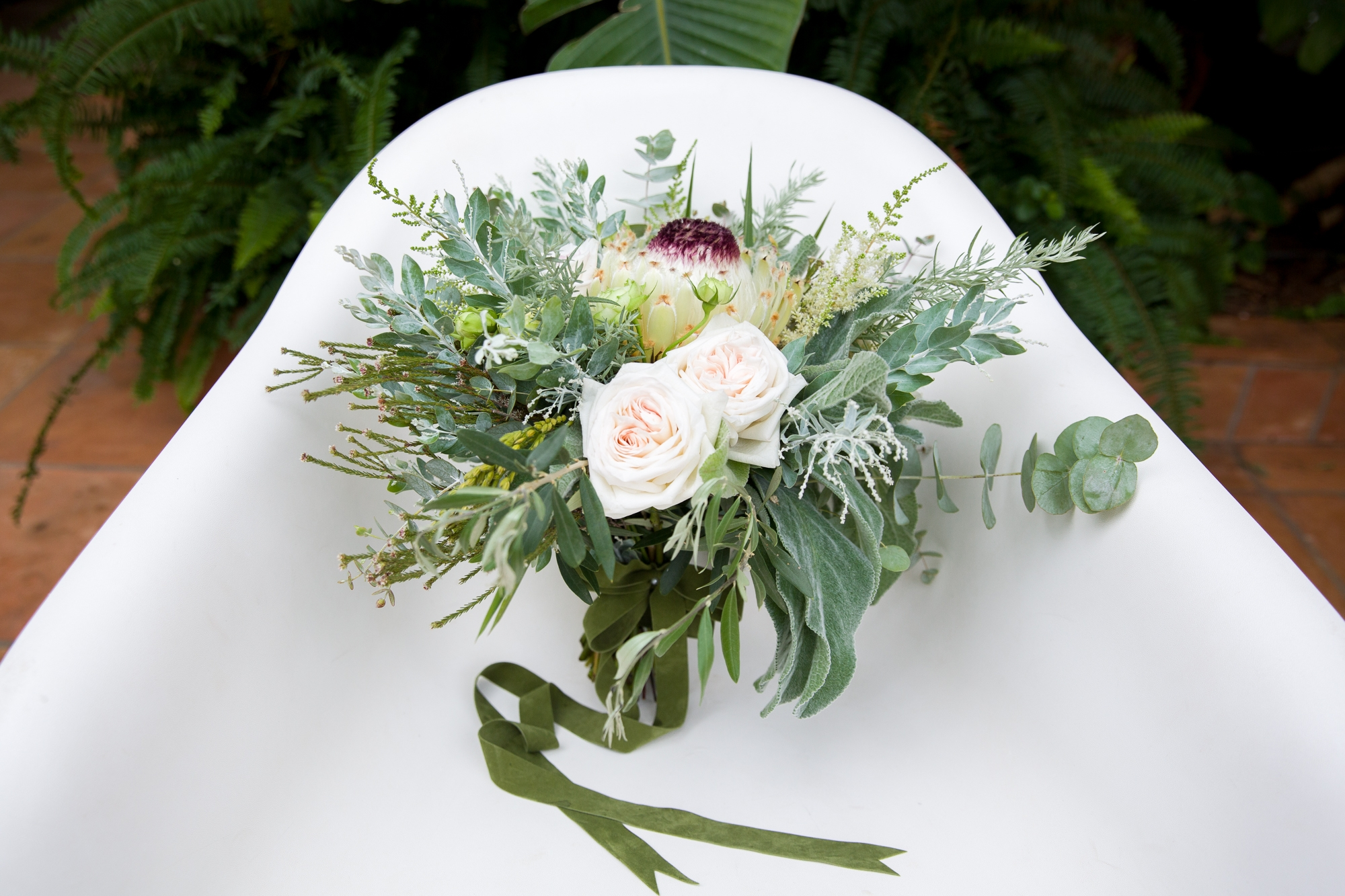 wedding bouquet of foliage and white flowers at Hotel Les Rotes Denia, Spain