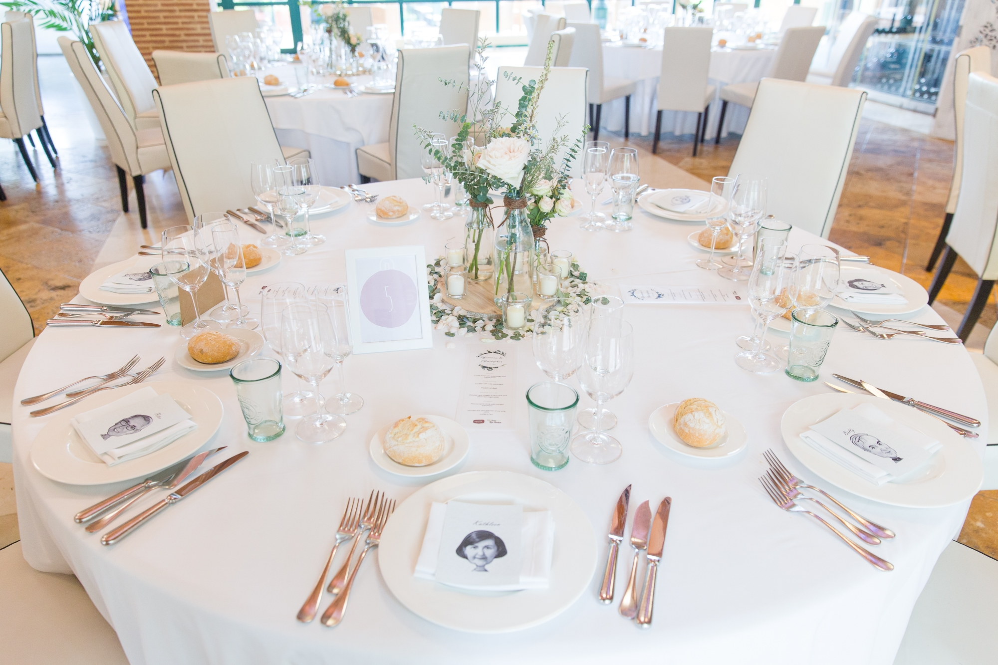 white wedding table at Hotel Les Rotes wedding in Spain