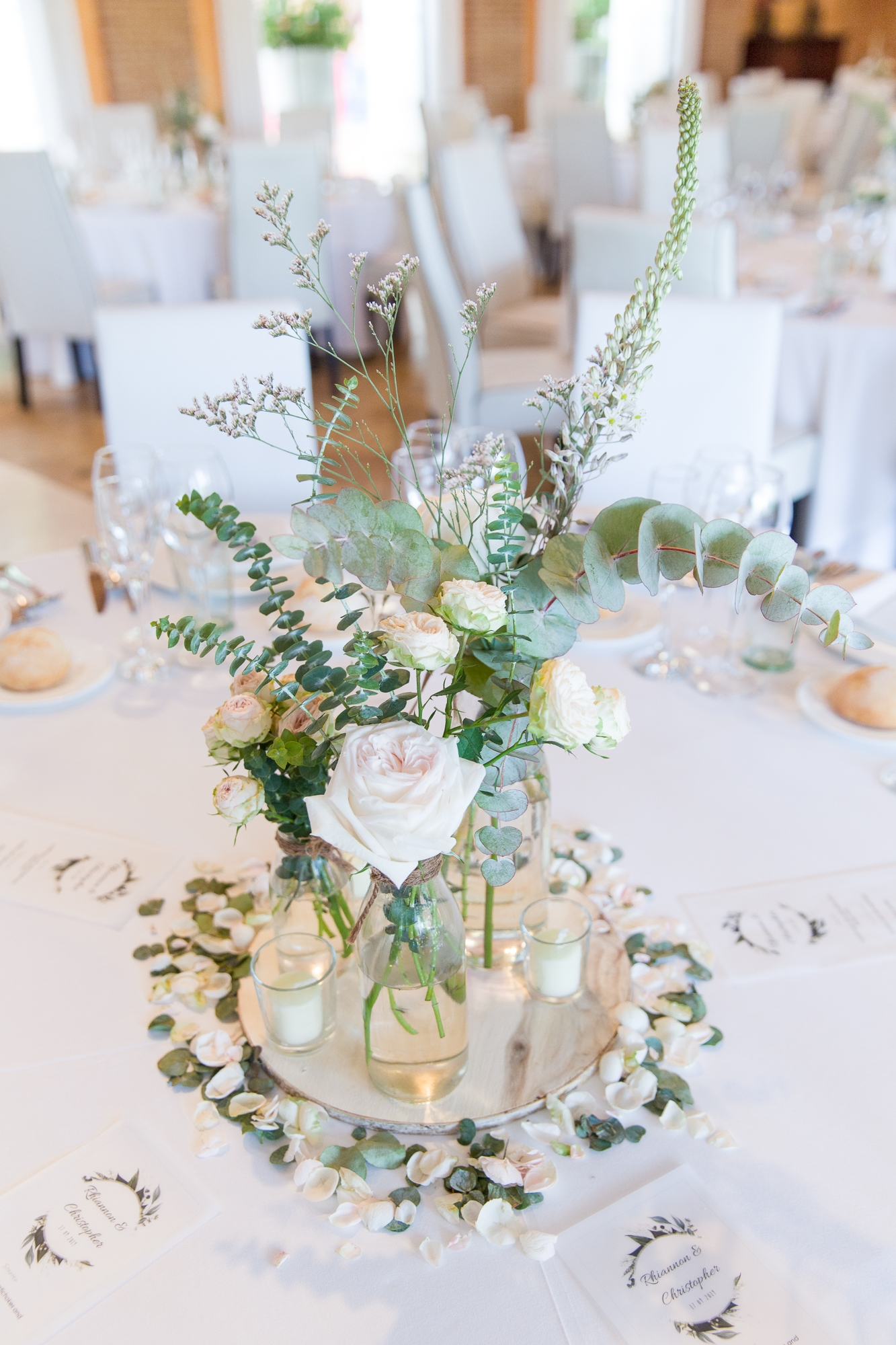 white wedding floral centrepiece by La Toscana at Hotel Les Rotes in Denia