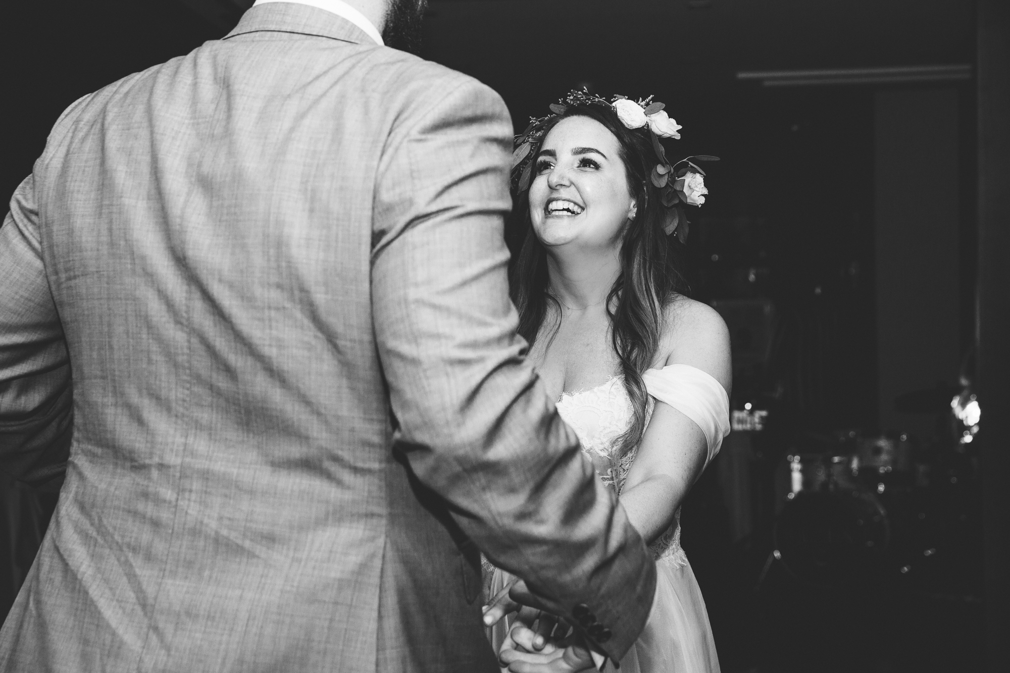 bride laughs whilst dancing at Hotel Les Rotes in Denia wedding