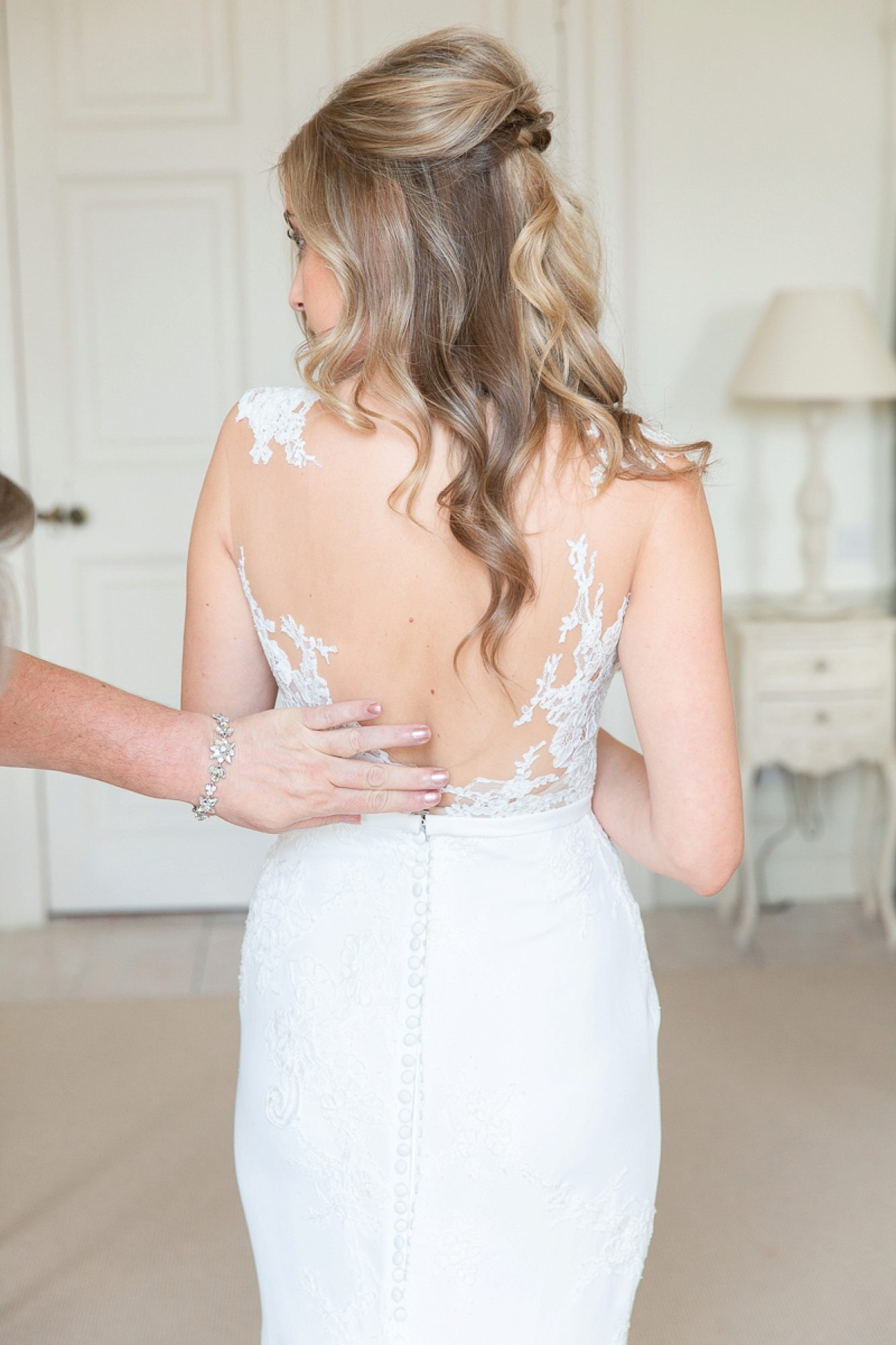 Back of the brides Pronovias Dress at Pynes House in Devon