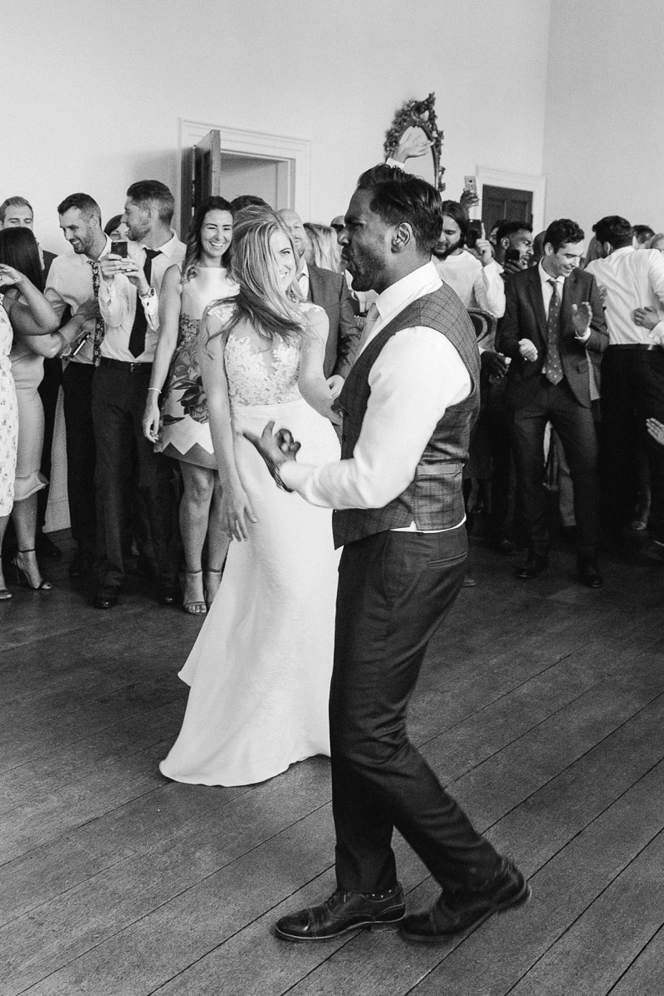 bride and groom dance at Pynes house