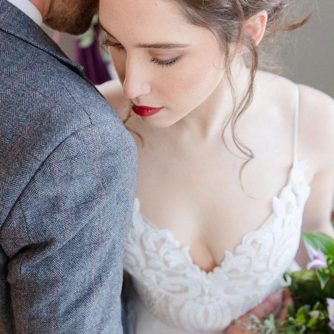 burgundy lips wedding make-up inspiration at Bridwell Park in Devon
